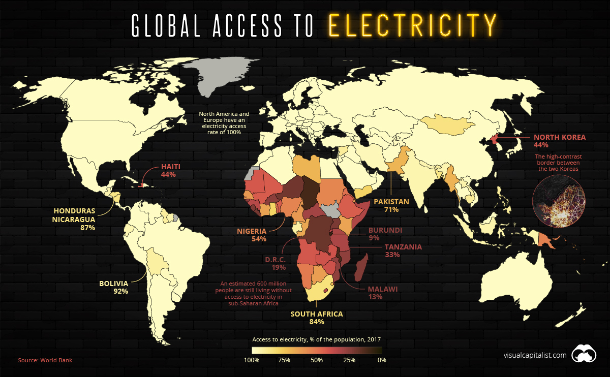 Mapped: The 1.2 Billion People without Access to Electricity