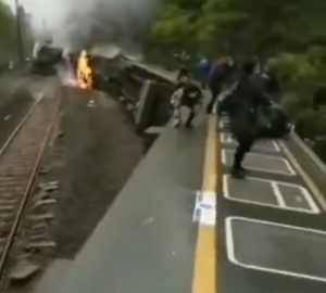 Intercity Train Partially Derails, Catches Fire in Hunan, China: Video Reports