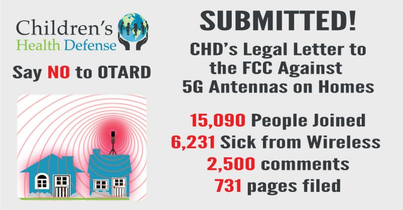 CHD Gives Notice to FCC against 5G Cell Towers on Homes—Ex-Parte Letter Receives Over 15,000 Signatures!
